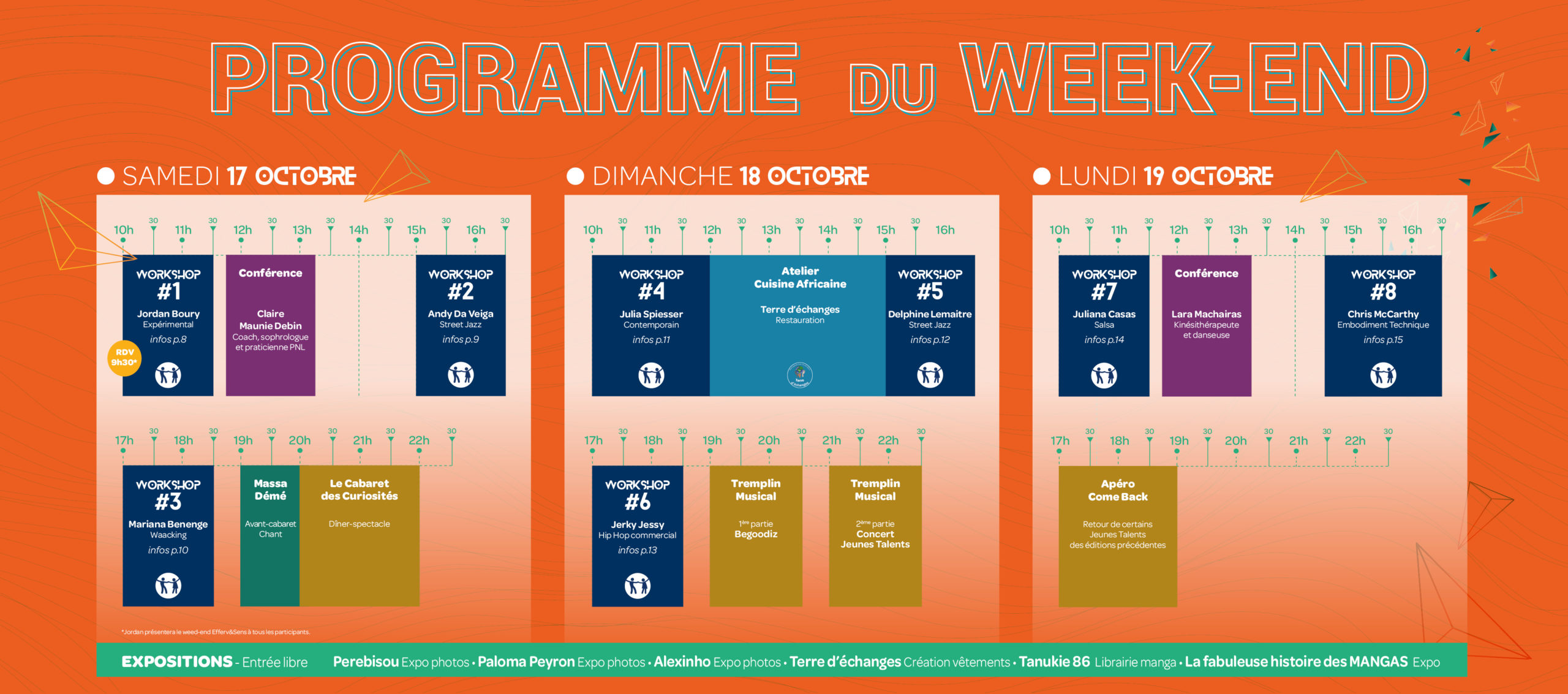 planning complet du week-end 17 au 19 octobre 2020 hôtel Ibis du Futuroscope