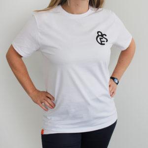 t-shirt blanc Efferv&Sens avec logo brodé sur la poitrine -2020