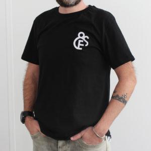 t-shirt noir Efferv&Sens avec logo brodé sur la poitrine - homme