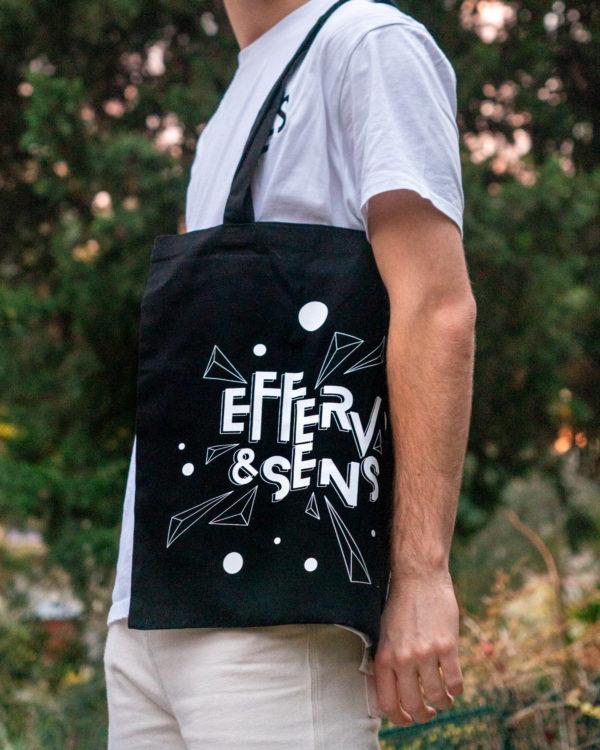 Tote bag noir avec logo blanc Efferv&Sens 2020